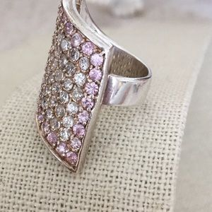 Vintage Jewelry - Vintage Sterling Ring Pink & Clear CZ Ring Size 6